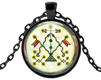 "Damballa La Flambeau Lwa Veve for Passion Purpose Voodoo Glass Talisman Necklace Pendant in 1"" Round  2"" Huge Oval"