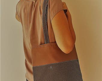 "tote bag lined ""taupe"""