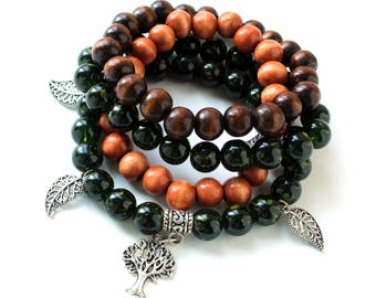 Dark Green and Wooden Bead Charm Bracelet Bundle