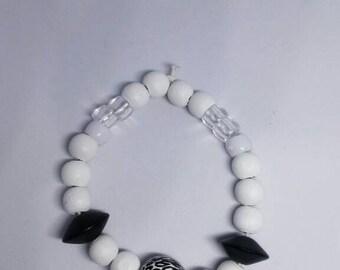 Black & White  zebra Bead Bangle