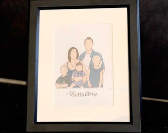Family of 5 Digital Portrait