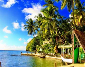 St Lucia Photography Print, Marigot Bay, Large Wall Art, Fine Art Photo Print