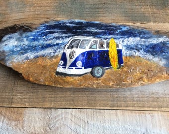 VW camper, nautical wall art, driftwood art, acrylic painting