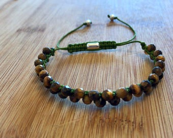 4 mm geometric polished yellow tiger eye gem stone bracelet