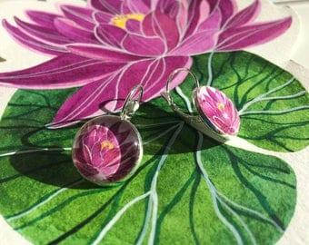 Lotus flower earrings, floral earrings, circle earrings, silver earrings, gift idea, handmade, colleizone, gift for her