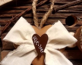 Handmade Bride and Groom Gingerbread Hearts