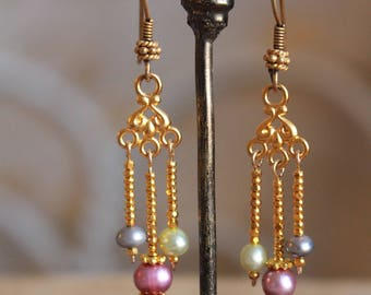 multi-colored pearl earrings (14 karat gold)