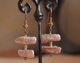 Pink stick pearl earrings