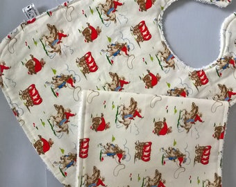 Cowboy Bib and Burp Cloth, Cath Kidston Vintage Cowboy Print Baby Bib and Burp Cloth Set, New Baby Gift, Christening Gift, Baby Shower Gift