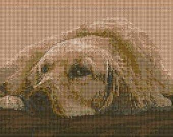 "Golden Retriever Counted Cross Stitch Kit 14"" x 7.25"""
