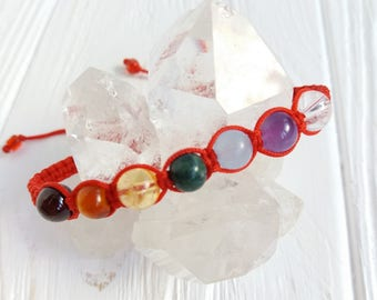 7 chakra gemstone bracelet Balance Energy Healing Intent Power Rainbow Buddhist Yoga Meditation Wrist Mala Seven stone jewelry bracelet gift