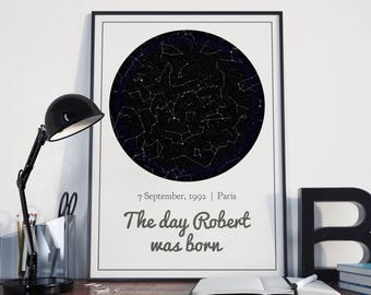 Custom Star Map, Night sky print, Instant download printable, space, gift for her, Customized Constellation personalised, frame A4/US letter