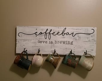 coffee bar mug rack