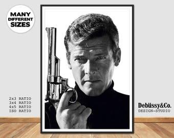 Roger Moore poster, Roger Moore print, James Bond Print, James Bond poster, 007 poster, 007 print, James Bond wall art, James Bond 007