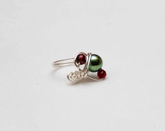 silver & glass wrapped wire ring
