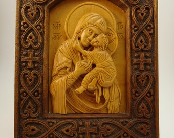 Virgin Mary and Jesus.Wood Carving.Religious Icon