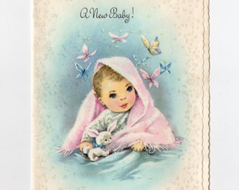 Vintage New Baby Card | Pastel Butterflies Bunny | Matthias Barr Quote | Greeting Card | Coronation Collection Made in USA | Paper Ephemera