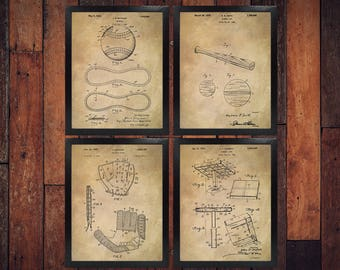 Sports blueprint etsy baseball patent prints set of 4 baseball gifts baseball baseball bat baseball malvernweather Image collections