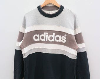 ADIDAS Big Spell Black Gray Vintage Sweater Sweatshirt Size M-L