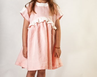 Girls Linen Pink Knee Long Vintage Dress Size 5 - 6 years