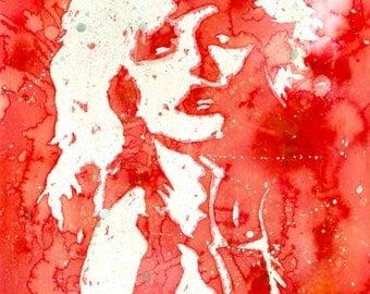 Debbie Harry Watercolour A3 Print - Fan Art, Music, Blondie, Wall Art, Painting, Home Decor, Gift