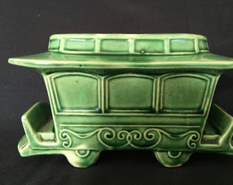 Vintage Green Cable Car Vase
