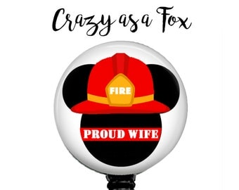 Mickey Mouse Proud Fire Wife Retractable Badge Holder, Fire TRL Badge Reel, Lanyard, Stethoscope ID Tag, Nurse, RN, Doctor, Teacher Gift