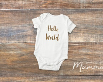 Hello World, New Baby Bodysuit, Personalised Baby Onesie