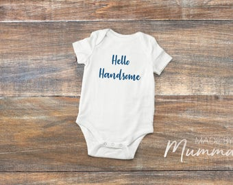 Hello Handsome, New Baby Bodysuit, Personalised Baby Onesie