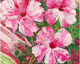 Abstract Fluid Acrylic Painting, unique, embellished with semi realistic pink floral painting