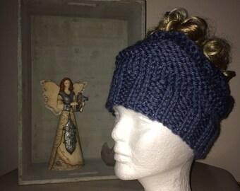 Messy bun / ponytail hat or beanie