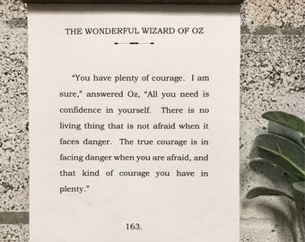 Book Page Quote Art - The Wonderful Wizard of Oz