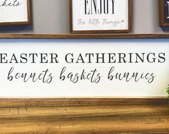 Easter Gatherings Cute 24x8 Wood Sign Decor