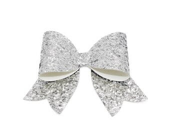 Large Silver French Single Glitter Hair Bow