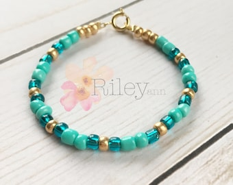 Princess Jasmine bracelet for girls - turquoise and gold beads - aladdin disney princess gift - classy kids jewelry