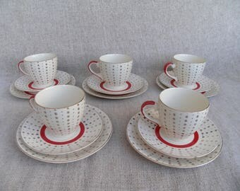 BROADHURST Retro Red Stripe Gold Stars 22Kt Gold Warranted Trio Consisting of a Cup, Saucer & Tea Plate c.1960s
