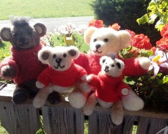 Felted teddy Bear, Bear felted, felted teddy Bear felt