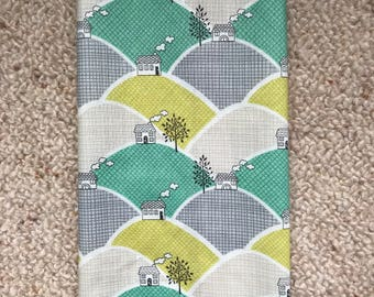 LARGE Reusable Cotton Beeswax Food Wrap Skandi Houses Fields Trees Green Grey White 30cm x 30cm Zero Waste