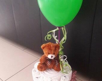 Diaper gift baby//pie with balloon//baby//diaper cake//Christening Gift
