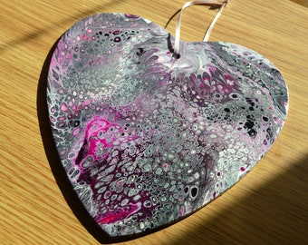 Flirtatious - An Original Acrylic Pour Abstract Painting on Wooden Heart - 22 x 19cms - Black, Silver, Pink & White