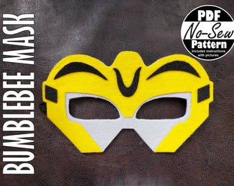 Bumblebee Rescue Bot No-Sew Mask Pattern