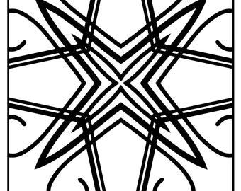 Wackadoodle Coloring Square Mandala #176