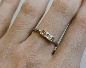 Two-Tone Three Stone Stackable Ring