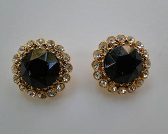 "Vintage JAY STRONGWATER Signed Clip On 1.25"" Round Earrings BLACK Art Glass & Rhinestone Gold Tone"