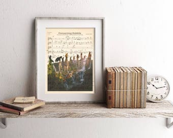 Lord of the Rings Concerning Hobbits Sheet Music Art Print