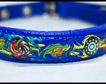 Hand-painted dog collar  Colourful dog collar Blue pet collar Modern dog collar