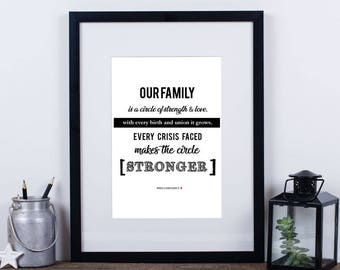 Word art - 'Our Family...' A4 poster print