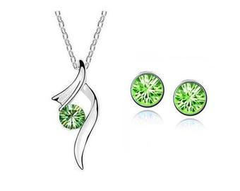 Jewelry Set Necklace & stud earrings * Silver Green