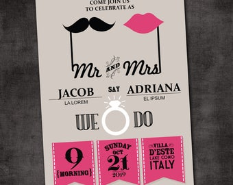 Wedding Invitation, Wedding Invitation with Matching RSVP and Other Information Card,  Contemporary Wedding Invitation, Retro Wedding Inv
