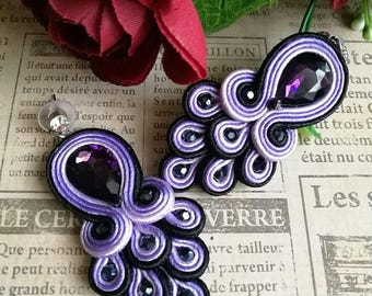 Elegant Violet Crystal Soutache Peacock Earrings Statement Dangle Ethnic Boho Chic Black and Purple Earrings